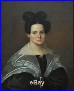 1 of 2 19th c. Portrait Paintings Lady Woman Wife Oil on Canvas Antique