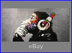 118 X 63 Large oil Painting Street Art Banksy Graffiti DJ MONKEY Ape Stencil