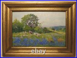 12x18 original oil painting by Santa Duran of Texas Bluebonnet Hill Country