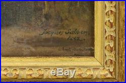 1842 Oil on Canvas of Young Girl Tending Rafter of Turkeys Signed Jacques Salmon