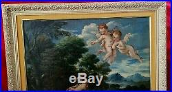 1850 Oil Painting, MADONNA, CHRIST, ST. JOHN, Bartolome Esteban Murillo Style, 35x31