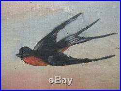 1890s BARN SWALLOWS WATER LILIES Oil Painting after VICTORIAN YARD-LONG antique