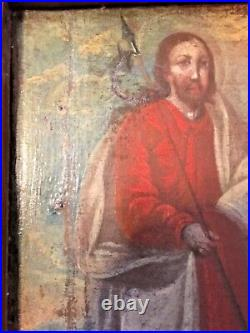 18th Century Mexican Oil Painting Of A Saint