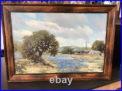1973 W. A. Slaughter Original Oil Painting Texas Hill Country- Bluebonnets