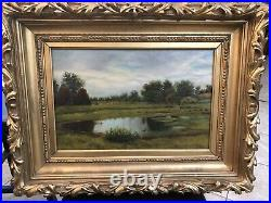 19th Century American School Oil On Canvas Haystack Painting
