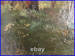 19th Century French School of CROZANT Antique oil painting Landscape in Gueret