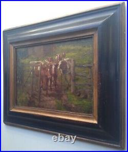 19th century Antique oil French Impressionist painting The cows Near of PISSARRO