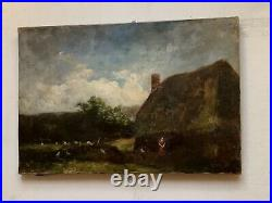 19thC Antique oil French painting BARBIZON Landscape Cottage TENER (1846-1925)