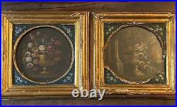 2 Vintage Framed Oil On Board Floral Paintings In An Old Gilt Frame 12x12