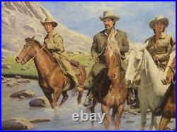 24x30 org. Oil painting on board by Sol Korby Cowboys Crossing River Western