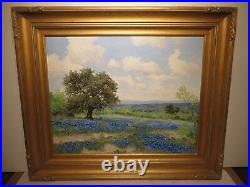 24x30 original 1970 oil painting by Jim Dooley of Tx Bluebonnet Hill Country