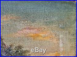 25x17 Antique Oil Painting On Canvas Laid To Board Cow Landscape Figures