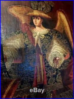 ANGEL ARCABUCERO-Painting-Oil on Canvas-18th Century-School of Cuzco-Peru