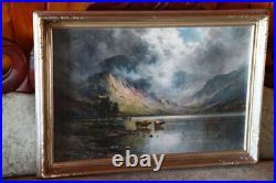 Alfred De Breanski Antique Painting of Scottish Highlands