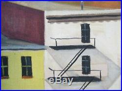 American Regionalism Painting Urban City Tenements Roof Tops Modernism Wpa Era