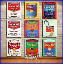 Andy Warhol Prints on canvas Pop art decor Campbell's soup 9 PCS set x 12x18