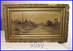 Antique 1800's original oil painting winter landscape river on canvas framed
