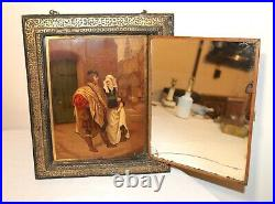 Antique 1876 original triptych trim-fold figural oil painting wall mirror framed