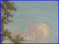 Antique 1907 Large James Crichton River Landscape Oil Painting