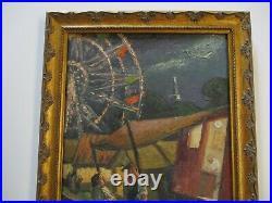 Antique 1920's Oil Painting Circus Americana Fair Carnival Wpa Ashcan Style Era