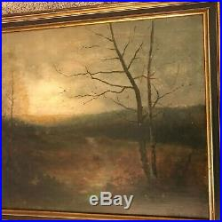 Antique 19th C American School Landscape Oil on Canvas Painting