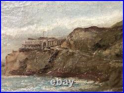 Antique 19th California Plein Air Impressionist Seascape Oil Painting, Signed