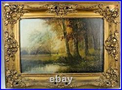 Antique 19th Century French Barbizon School Oil on Canvas Landscape Painting
