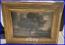 Antique 19th Gilt Framed Oil Painting Canvas Pastoral Cows signed John Davis