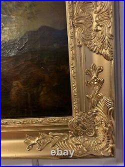 Antique 19th century oil painting on canvas, rural landscape, unsigned, framed