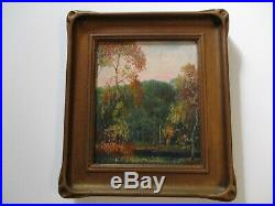 Antique American Painting Small Gem Incredible Pie Crust Frame Landscape Old