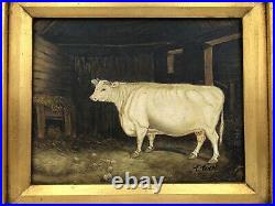Antique C Toch ORIGINAL FRENCH OIL ON CANVAS COW PAINTING 16 3/8 x 14 3/8