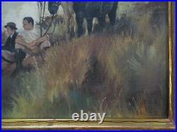 Antique California Oil Painting Landscape Impressionist American Western Horses