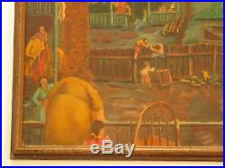 Antique Chicago Painting Wpa Urban American Tenement Modernism City Ashcan Style