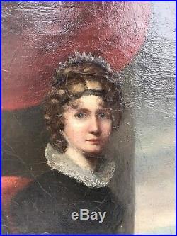 Antique Early 19th C. American Female Artist Self Portrait Palette, Oil Canvas