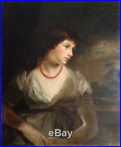 Antique Fine Oil 19th Century Portrait Lady Coral Necklace Sir William BEECHEY