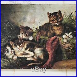 Antique Folk Art Oil Painting Cat & Four Kittens On Canvas- Primitive 1800s WOW
