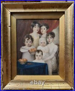 Antique Georgian Miniature Oil Painting Girls Boys Children 19th century English