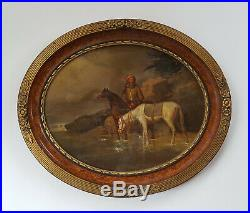Antique Horse Painting, 19th Century Horseman Oil Painting, To be Restored