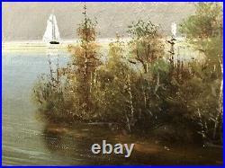 Antique Hudson River School Landscape Oil on Canvas Painting 19th century