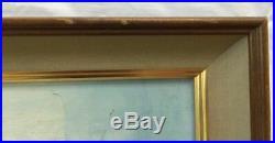 Antique Impressionist Landscape Oil Painting by M. VAN CALCAR. Ocean Beach Wave