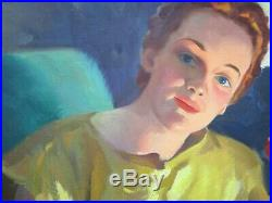 Antique Jerry Bellen Painting Rare Chicago Illustrator Oil Pinup Pretty Woman