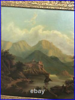 Antique Lake Maggiore Landscape Italy 19th Century Original Canvas Oil Painting