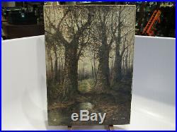 Antique Landscape Painting Oil On Canvas 10 X 14 Signed M Leroy