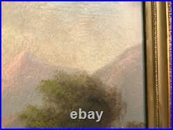 Antique O/c Painting Landscape Framed Unsigned 14 By 22
