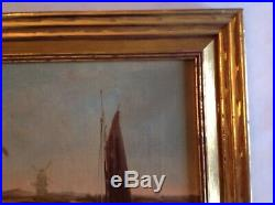 Antique Oil Canvas Painting Dutch European Windmill Nautical Signed Framed 14.5