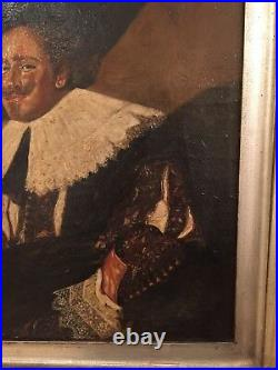 Antique Oil On Canvas Painting The Laughing Cavalier Old Master Male Portrait