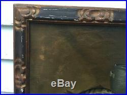 Antique Oil On Canvas Still Life Fish & Crock