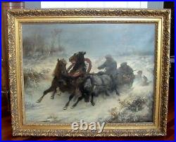 Antique Oil Painting Troika Attacked by Wolves Adolf Schreyer 1868 Museum