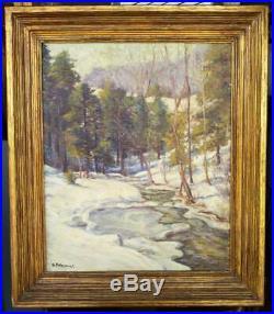 Antique Old American Impressionist Landscape Trees George Polhamus Snow Winter