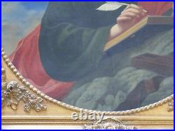 Antique Old Master Painting Saint Portrait Heaven Religious Icon 18th Century